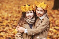Free Cute Two Little Sisters With Crown Of Leaves Hugging In Autumn Park Stock Image - 123542781
