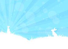 Easter bunny. Cute two rabbit on blue background Stock Images