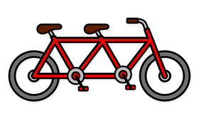 Cute two seat tandem bicycle icon Stock Photo