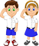 Cute two students cartoon respectful Stock Image