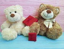 Cute two teddy bear toy with a red box on a pink and blue wooden Stock Photography
