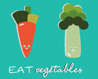 Eat Vegetables. Cute of two vegetables Stock Illustration