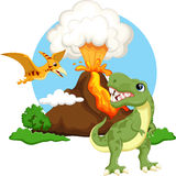 Cute Tyrannosaurus And Pterodactyl Cartoon With Volcano Background Royalty Free Stock Image