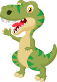 Cute tyrannosaurus cartoon waving hand Stock Photo