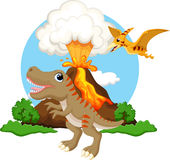 Cute tyrannosaurus and pterodactyl cartoon with volcano background Stock Photo
