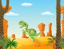 Cute tyrannosaurus running with the desert background Royalty Free Stock Image