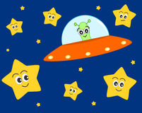 Cute ufo alien cartoon with sweet stars illustration for kids Stock Image