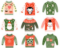 Cute ugly Christmas sweater clip art. Cute ugly Christmas sweater designs vector set, Sweater party invitation clip art collection in red and green colors Royalty Free Stock Photos