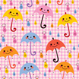Cute umbrellas rain pattern Stock Photo