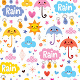 Cute umbrellas rain sky seamless pattern Royalty Free Stock Images