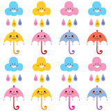 Cute umbrellas raindrops clouds characters pattern swatch Stock Image