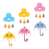 Cute umbrellas raindrops clouds characters vector illustration Stock Photo