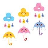 Cute umbrellas raindrops clouds characters vector illustration. Cute umbrellas raindrops clouds characters Stock Photo