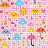 Cute umbrellas raindrops flowers clouds characters seamless pattern Royalty Free Stock Photo