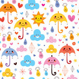 Cute umbrellas raindrops flowers clouds sky seamless pattern. Cute umbrellas raindrops flowers clouds sky pattern Stock Images