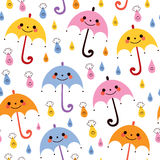 Cute umbrellas raindrops seamless vector rain pattern Stock Photography
