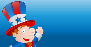 Cute Uncle Sam. Cute Happy Kid Cartoon Uncle Sam Character with 4th of July Festive Banner vector illustration