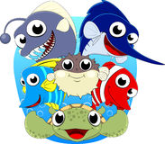 Cute Under Sea Animal Set Stock Photography