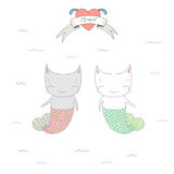 Cute under water cats illustration Stock Photo
