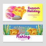 Cute underwater banner with coral reef. Additional file in eps 10 Stock Photo