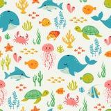 Cute underwater life pattern. Cute underwater pattern on light background Royalty Free Stock Image