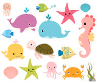 Cute underwater sea animals set Royalty Free Stock Photo