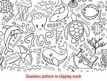 Underwater seamless pattern royalty free illustration