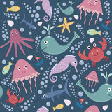 Cute underwater seamless pattern. Cute underwater seamless pattern with jellyfish, crab, fish, whale, shark, octopus, sea horse, starfish and bubbles Stock Photography