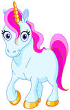 Cute unicorn. Blue Unicorn With Golden Hooves And Pink Hair Royalty Free Stock Photography