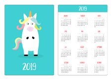 Cute unicorn animal. Simple pocket calendar layout 2019 new year. Week starts Sunday. Vertical orientation. Cartoon kawaii funny. Baby character. Flat design royalty free illustration