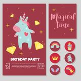 Cute unicorn baby birthday party card vector illustration magic rainbow fantasy fairy design beautiful fairytale art. Fashion funny horn print lovely pink pony Royalty Free Stock Photography