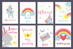 Cute unicorn baby card vector illustration magic rainbow fantasy fairy design beautiful fairytale art. Fashion funny horn print lovely pink pony character Royalty Free Stock Photography