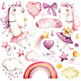 Cute unicorn Baby girl. Watercolor nursery cartoon magic animals horse, fantasy clouds rainbow. Adorable Nurseries pink