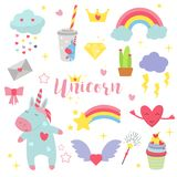 Cute unicorn baby vector illustration magic rainbow fantasy fairy design beautiful fairytale art. Fashion funny horn print lovely pink pony character. Pastel Royalty Free Stock Image