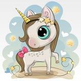 Cute Unicorn on a Blue background. Cute Cartoon Unicorn on a Blue background stock illustration