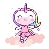 Cute Unicorn Cartoon dance on cloud Baby Animal Vector Pastel color with heart and love star, Kawaii Pony character decoration kid. Cute Unicorn Cartoon dance on royalty free illustration
