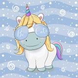 Cute unicorn cartoon with sunglasses on striped background