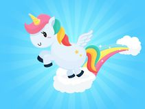 Cute unicorn cartoons jumping on the clouds Sky background and white sunlight.  stock illustration