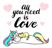 Cute unicorn with a cat. All you need is love text