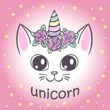 Cute unicorn cat. For the design of posters, T-shirts. print vector illustration