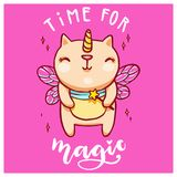 Cute unicorn cat with fairy wings and magic wand. Handwritten time for magic lettering. Vector colorful illustration