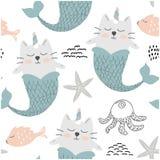 Cute unicorn cat mermaids. childish seamless pattern for fabric ,textile. vector illustration