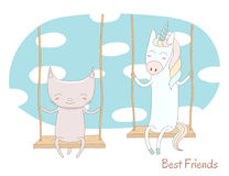 Cute unicorn and cat on a swing Royalty Free Stock Image
