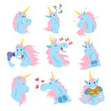 Cute unicorn characters set, funny mythical animals with different emotions set colorful vector Illustrations Royalty Free Stock Image