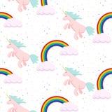 Cute unicorn child seamless pattern. Stock Image