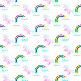 Cute unicorn child seamless pattern. Stock Photos