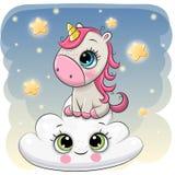 Cute Unicorn a on the Cloud. Cute Cartoon Unicorn is sitting a on the Cloud stock illustration