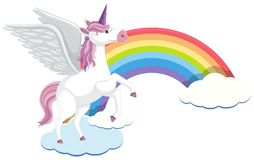 Cute Unicorn with Cloud and Rainbow Royalty Free Stock Images