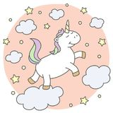 Cute unicorn on the clouds royalty free illustration