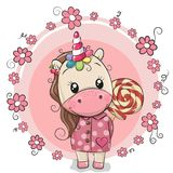 Cute Unicorn in coat and with Lollipop Royalty Free Stock Photos